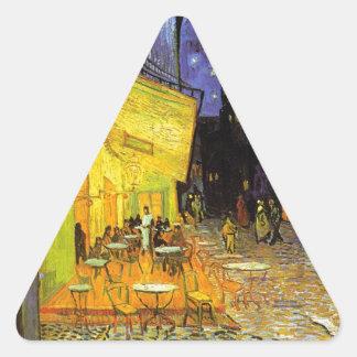 Vincent Van Gogh Cafe Terrace At Night Vintage Art Triangle Sticker