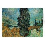 Vincent van Gogh - camino con el ciprés y la estre Tarjeta De Felicitación
