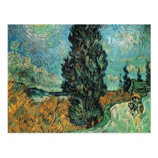 Vincent van Gogh - camino con el ciprés y la Tarjetas Postales