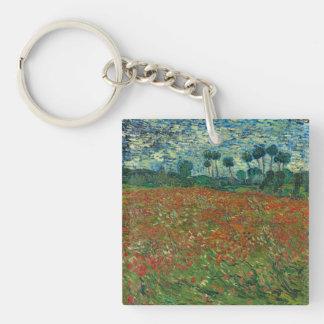 Vincent van Gogh - campo de la amapola Llavero Cuadrado Acrílico A Una Cara