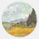 Vincent van Gogh - campo de trigo con los cipreses Etiqueta Redonda