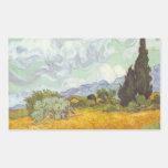 Vincent van Gogh - campo de trigo con los cipreses Rectangular Pegatina