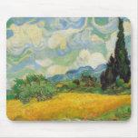 Vincent van Gogh - campo de trigo con los cipreses Alfombrillas De Ratón
