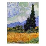 Vincent van Gogh - campo de trigo con los cipreses Postal