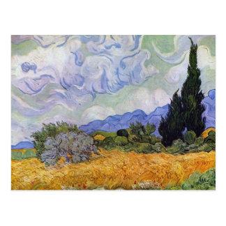Vincent van Gogh - campo de trigo con los cipreses Tarjetas Postales