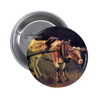 Vincent Van Gogh - Cart With Red And White Ox Pinback Button