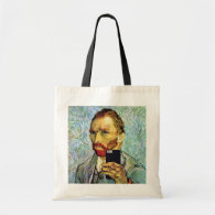 Vincent Van Gogh Cellphone Selfie Self Portrait Budget Tote Bag