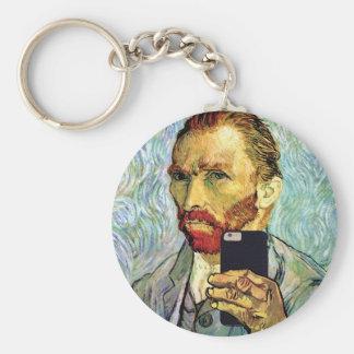 Vincent Van Gogh Cellphone Selfie Self Portrait Basic Round Button Keychain