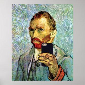 Vincent Van Gogh Cellphone Selfie Self Portrait Poster