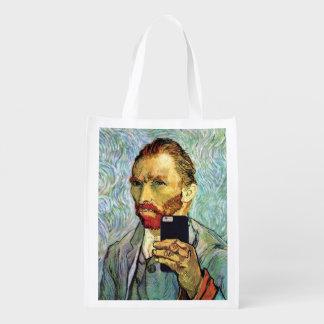 Vincent Van Gogh Cellphone Selfie Self Portrait Reusable Grocery Bags
