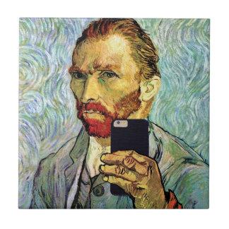 Vincent Van Gogh Cellphone Selfie Self Portrait Tile
