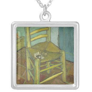 Vincent Van Gogh - Chair with Bandage Square Pendant Necklace