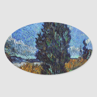Vincent Van Gogh Country road in Provence by Night Oval Sticker