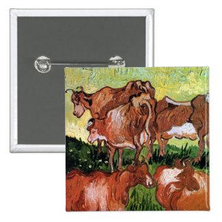 Vincent Van Gogh - Cows (After Jordaens) Fine Art Button