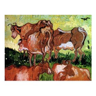 Vincent Van Gogh - Cows (After Jordaens) Fine Art Postcard