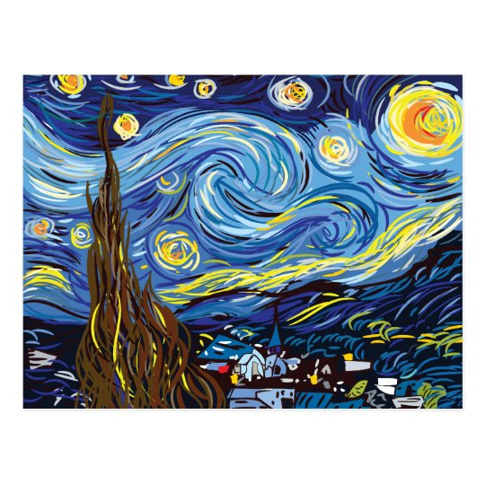 Vincent van Gogh digital Vector study Postcard