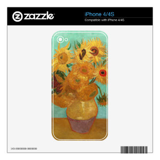 Vincent van Gogh doce girasoles en un florero iPhone 4 Calcomanías