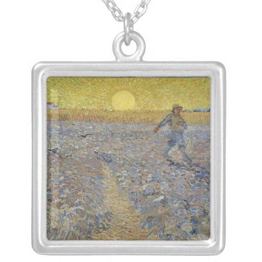 Vincent van Gogh - el sembrador Colgante Cuadrado