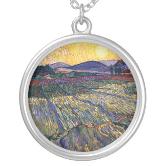 Vincent Van Gogh - Enclosed Field With Rising Sun Silver Plated Necklace