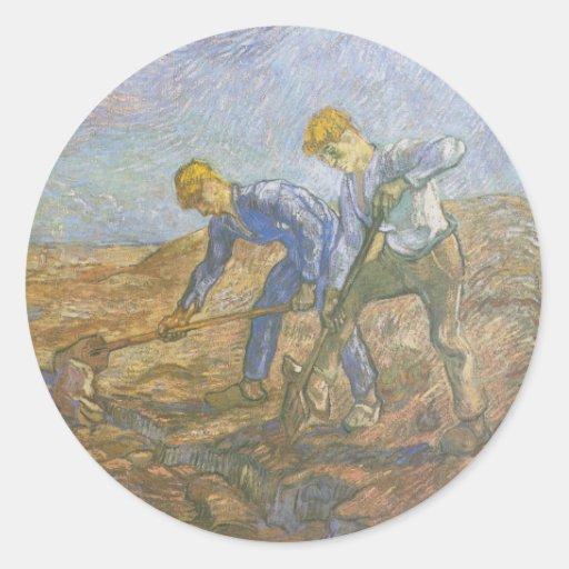 Vincent van Gogh - excavación de dos campesinos Pegatina Redonda