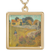 Vincent van Gogh | Farmhouse in Provence, 1888 Gold Plated Necklace