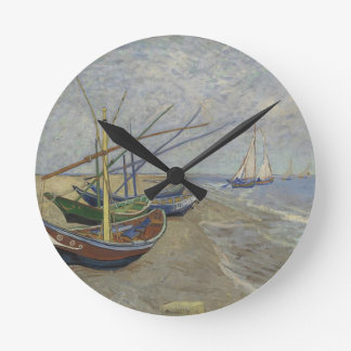 Vincent Van Gogh - Fishing Boats on Saintes Maries Round Clock