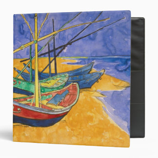 Vincent van Gogh | Fishing Boats on the Beach 3 Ring Binder