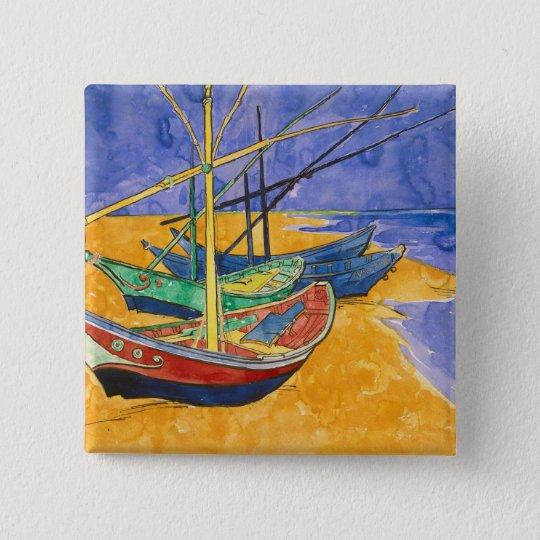 Vincent van Gogh   Fishing Boats on the Beach Pinback Button