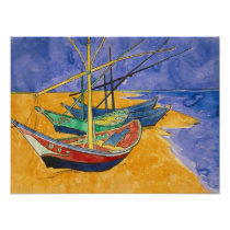 Vincent van Gogh | Fishing Boats on the Beach Poster