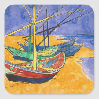 Vincent van Gogh   Fishing Boats on the Beach Square Sticker