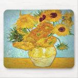 Vincent van Gogh - florero con 12 girasoles Alfombrilla De Raton