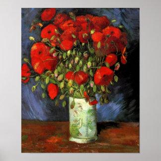 Vincent van Gogh - florero con las amapolas rojas Póster