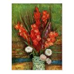 Vincent van Gogh - florero con los gladiolos rojos Postal