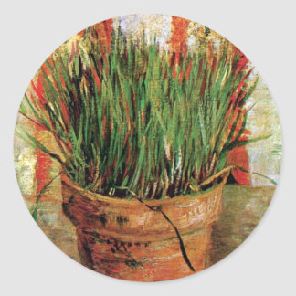 Vincent Van Gogh - Flowerpot With Chives Classic Round Sticker