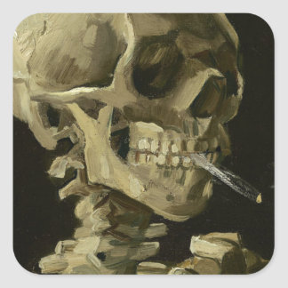 Vincent Van Gogh Head of A Skeleton with Cigarette Square Sticker