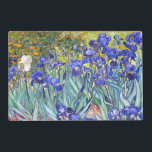 "Vincent Van Gogh Irises Floral Vintage Fine Art Placemat<br><div class=""desc"">Vincent Van Gogh Blue Irises Floral Fine Art Irises is one of many paintings of irises by the Dutch Post-Impressionist artist Vincent van Gogh. Like many artists of his time Van Gogh was influenced by Japanese ukiyo-e woodblock prints. The strong outlines, unusual angles, including close-up views, is a typical element...</div>"