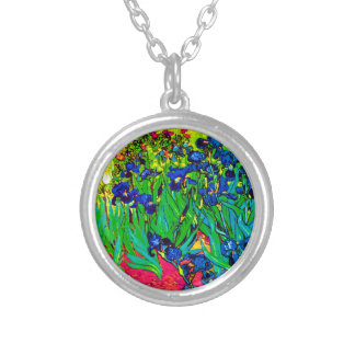 Vincent Van Gogh - Irises - Flower Lover Pop Art Silver Plated Necklace