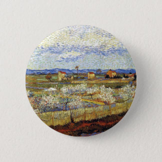 Vincent Van Gogh - La Crau With Peach Trees Button