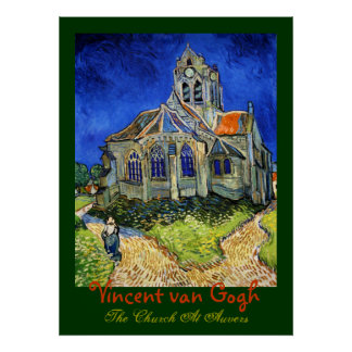 Vincent van Gogh: la iglesia en Auvers Póster