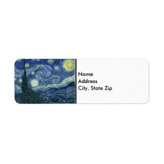 Vincent van Gogh la noche estrellada Etiqueta De Remite