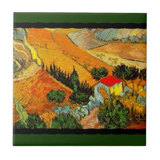 Vincent Van Gogh Landscape & House Enhanced Tile