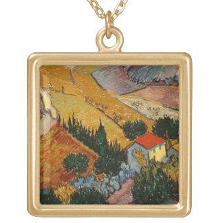 Vincent van Gogh | Landscape w/ House & Ploughman Gold Plated Necklace