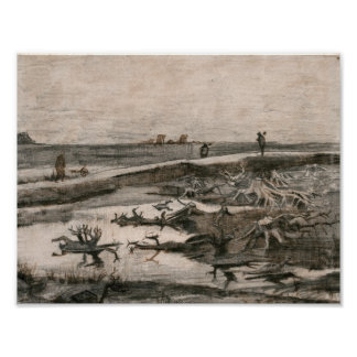 Vincent van Gogh - Landscape with Bog Trunks Poster