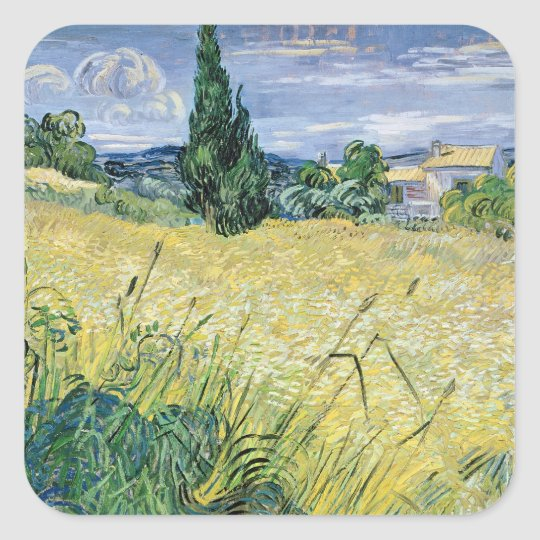 Vincent van Gogh   Landscape with Green Corn, 1889 Square Sticker