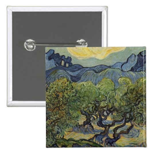 Vincent van Gogh - Landscape with Olive Trees Button