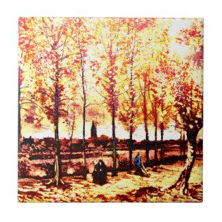 Vincent van Gogh - los álamos en Nuenen 2 Azulejos
