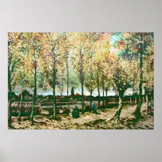 Vincent van Gogh - los álamos en Nuenen Póster