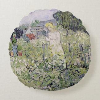 Vincent van Gogh | Mademoiselle Gachet in garden Round Pillow