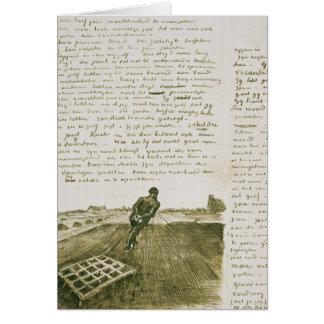 Vincent van Gogh | Man pulling a harrow Card