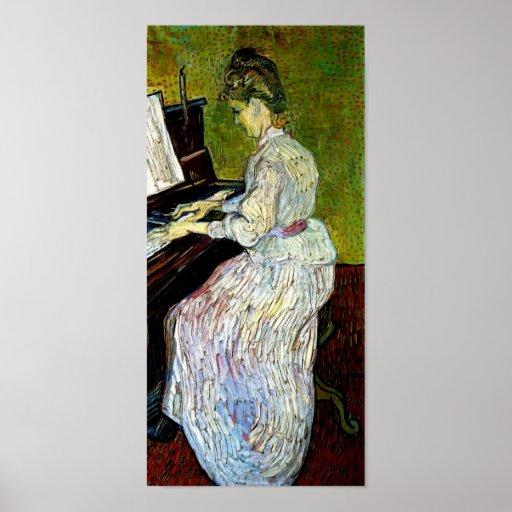 Vincent van Gogh - margarita Gachet en el piano Póster